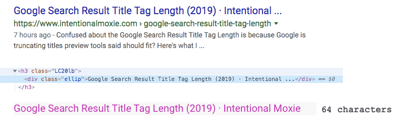 Example test of a 64 character title that fit within 600 pixels but still truncated in Google Search Results.