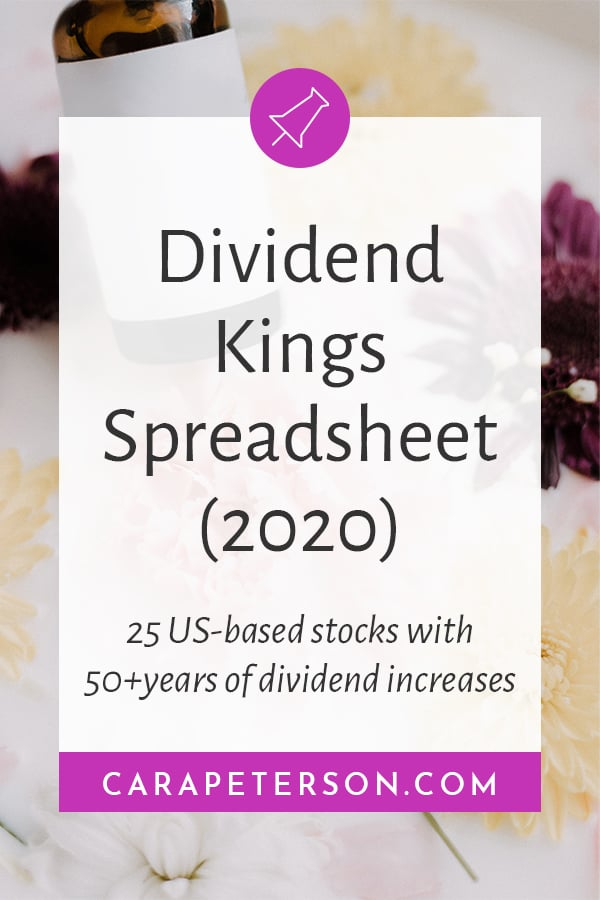 Dividend Kings Spreadsheet (2019). 25 US-based stocks with 50+years of dividend increases