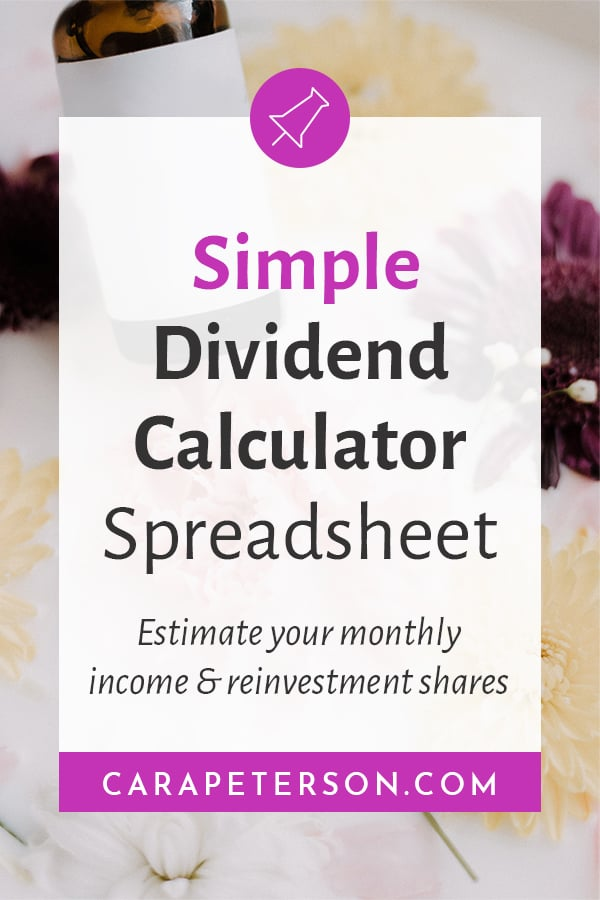 Simple Dividend Calculator Spreadsheet: Estimate your monthly income and reinvestment shares