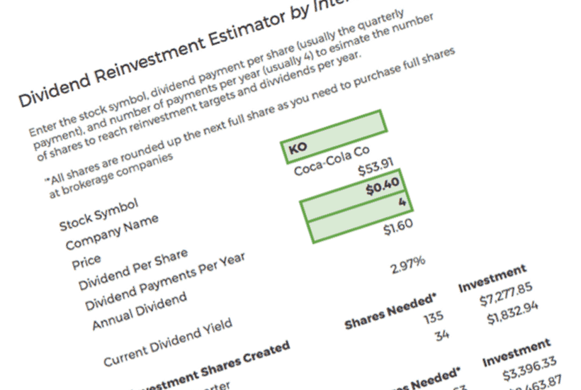 Partial view of the dividend reinvestment calculator