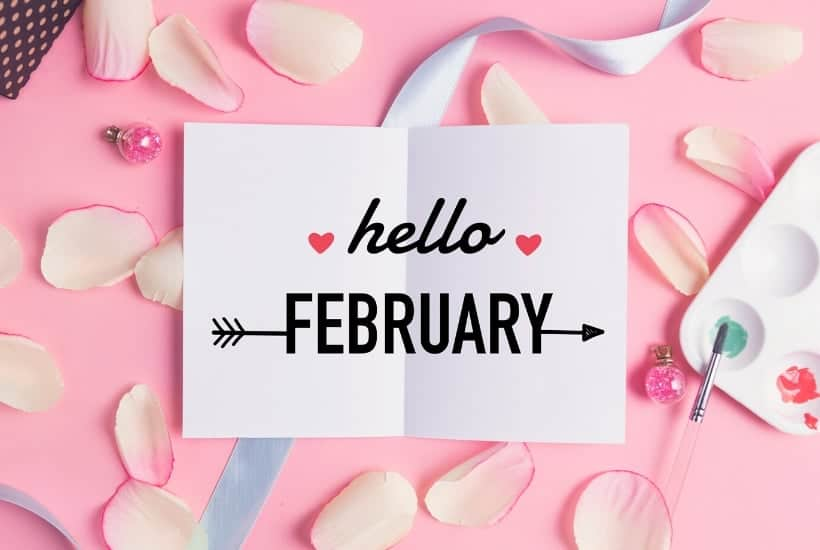 Stylized scene with a hello February sign to look at stocks that pay dividends in February