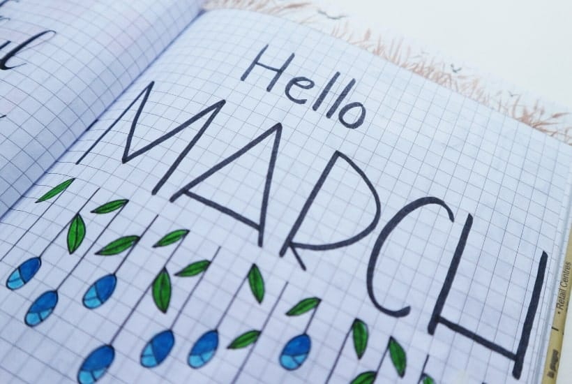 Journal page with Hello March to look for stocks that pay dividends in March