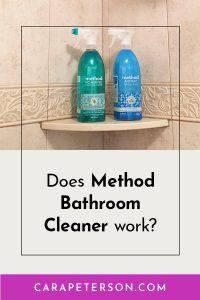 Bottles of Method Bathroom Cleaner in a shower