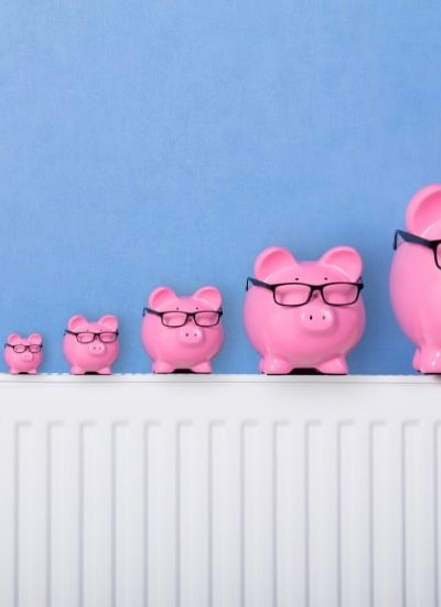 5 pink piggy banks on a radiator illustrating deciding if you need a 12 month emergency fund