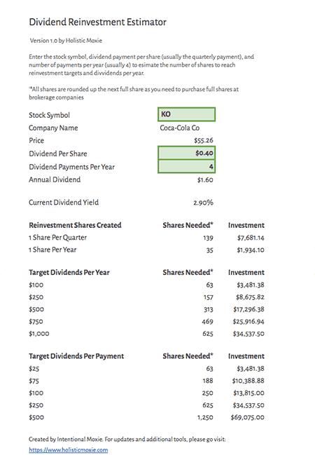 Simple Dividend Calculator Spreadsheet screenshot