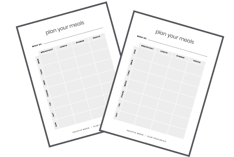 Two simple meal planning worksheets with snacks starting on Sunday and Monday