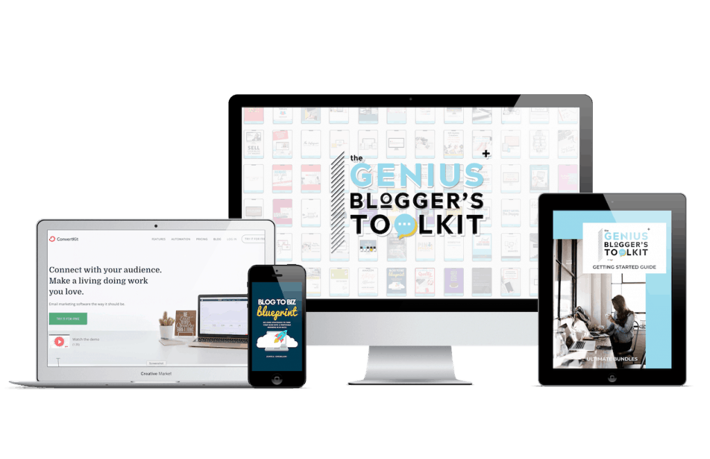 Genius Bloggers Toolkit 2019 mockups on desktop, laptop, iPad, and mobile