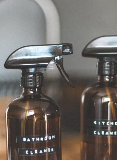 Spray bottles for bathroom and kitchen cleaner as part of my quick cleaning ideas