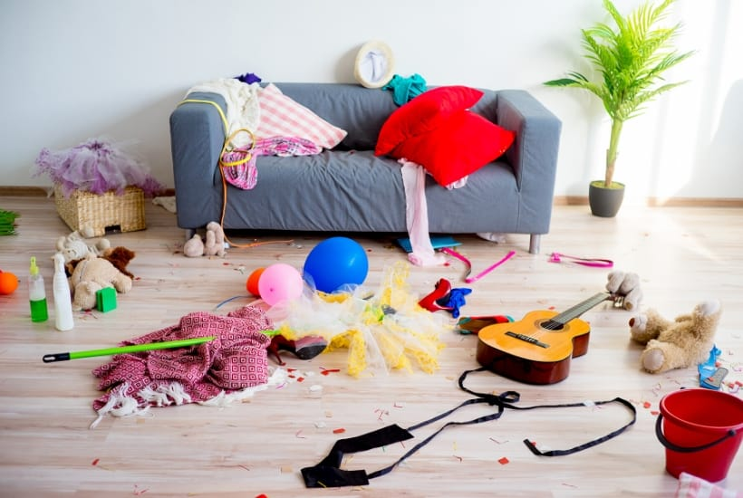 A cluttered living room to demonstrate the need to clean your messy house