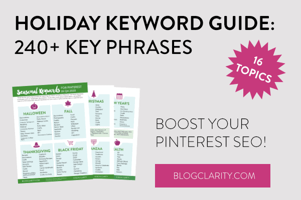 Holiday Keyword Guide from Pinning Perfect to boost your Pinterest SEO.